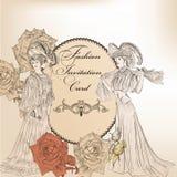 时尚或婚礼设计的邀请卡片 免版税库存图片