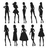 时尚抽象传染媒介女孩看起来黑剪影 库存照片