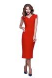 时尚样式妇女完善的身体形状深色的头发穿戴红色 库存照片