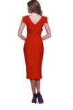 时尚样式妇女完善的身体形状深色的头发穿戴红色 图库摄影
