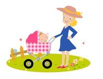 时尚母亲和婴孩 库存图片