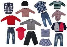 时尚现代男性婴孩衣裳 库存照片