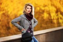 年轻时尚白肤金发的妇女在秋天城市公园 库存照片