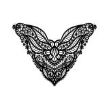 时尚的传染媒介花卉领口设计 花和叶子脖子印刷品 胸口鞋带点缀 库存照片