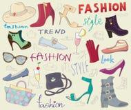 时尚穿上鞋子背景 免版税库存照片