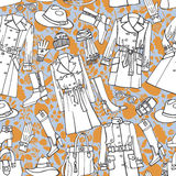 时尚穿戴无缝的样式 秋天,冬天, 库存照片