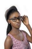 时尚美丽的妇女画象佩带的玻璃 免版税库存照片