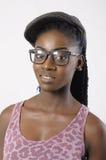 时尚美丽的妇女画象佩带的玻璃 图库摄影