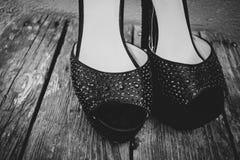 时尚美女的鞋子高跟鞋照片  免版税库存图片