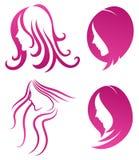 时尚象。女性秀丽的标志在紫色的 免版税库存照片
