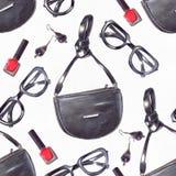 时尚集合手拉在与铅笔和划线员的明亮的颜色在白色水彩纸的红色和黑颜色 无缝的模式 图库摄影
