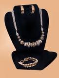 时尚项链、耳环和镯子 免版税库存照片