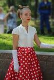 时尚40-60年在苏联 仿照女用连杉衬裤男孩样式的女孩 图库摄影
