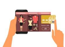时尚购物的流动app 免版税库存照片