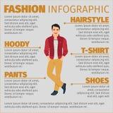 时尚infographic与愉快的学生 向量例证