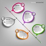 时线与设计贴纸模板的信息图表 向量例证