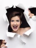 时装模特儿与黑眼睛的女孩画象在白色背景 免版税库存图片