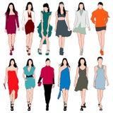 时装模特儿剪影向量集 免版税库存图片