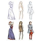 时装模特儿在春天和夏天衣裳 免版税库存图片