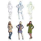 时装模特儿在春天衣裳 免版税库存图片