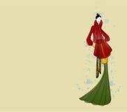 时装模特儿在秋天给草图看板卡穿衣 免版税库存图片