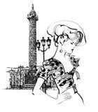 时装模特儿妇女在巴黎 免版税库存图片