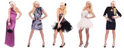时装模特儿拼贴画用不同的礼服 库存图片