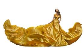 时装模特儿礼服,在长的褂子,挥动的金黄锡勒的妇女舞蹈 免版税库存图片