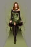 时装模特儿绿色 免版税库存照片