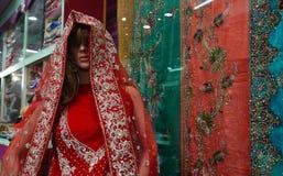 时装模特在零售店或商店前面或莎丽服穿戴了被保留的印地安礼服 库存照片