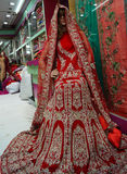 时装模特在零售店或商店前面或莎丽服穿戴了被保留的印地安礼服 免版税库存图片