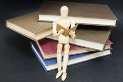 时装模特坐阅读书山  库存图片