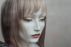 时装模特的妇女面孔与假发的在时尚商店sho 免版税库存照片