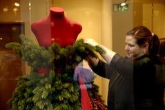 时装模特礼服当圣诞树 免版税库存图片