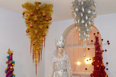 时装模特雪女王/王后和圣诞树 图库摄影