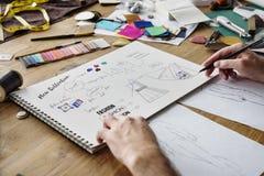 时装设计师时髦的陈列室概念 免版税库存照片