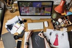 时装设计师时髦的陈列室概念 免版税库存图片