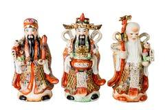 时运、繁荣和长寿小雕象的中国上帝 免版税图库摄影