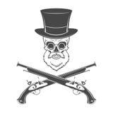 时运骨骼的绅士有胡子的,玻璃 库存照片
