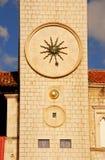 时钟克罗地亚杜布罗夫尼克市著名塔 免版税库存图片