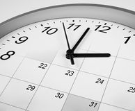 时钟和日历。 时间安排概念。 免版税库存照片
