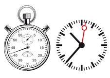 时钟和秒表 免版税图库摄影