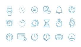 时钟图表集合 短时间管理计算机时间日历传染媒介稀薄的线象汇集 皇族释放例证