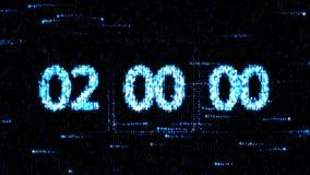 时钟在开始新的读秒的02:00被设置 在屏幕上的读秒 零的读秒 免版税库存照片