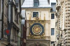 时钟在鲁昂法国 免版税图库摄影