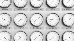 时钟展示在不同的时区中的伦敦,英国时间 3D动画 影视素材