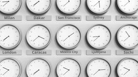 时钟展示在不同的时区中的墨西哥城,墨西哥时间 3D动画 影视素材