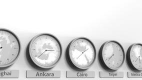 时钟展示在不同的时区中的开罗,埃及时间 概念性3D动画 影视素材