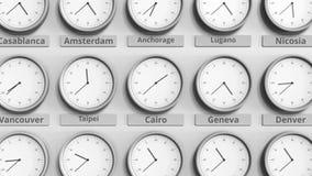 时钟展示在不同的时区中的开罗,埃及时间 3D动画 影视素材