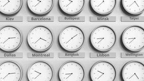 时钟展示在不同的时区中的曼谷,泰国时间 3D动画 影视素材